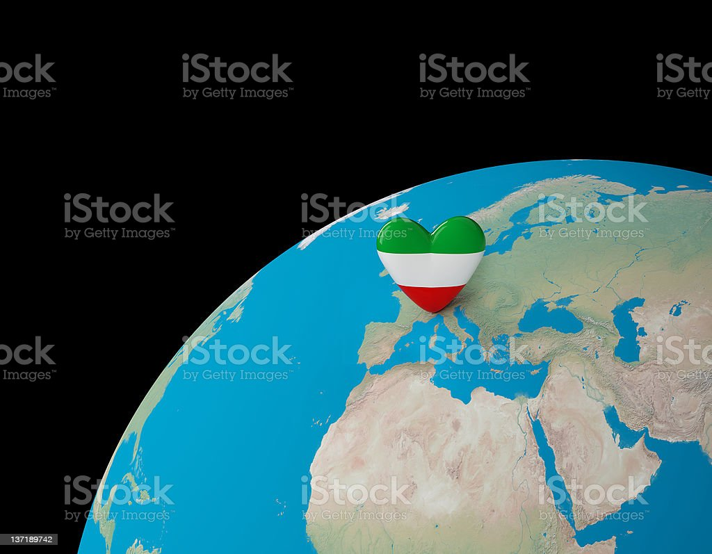 Italia Bandiera Heath Sul Pianeta Terra 3d Fotografie Stock E