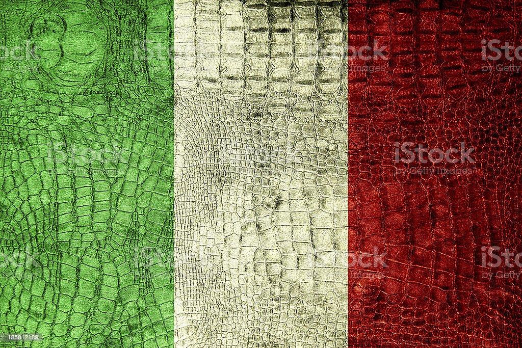 Italy Flag painted on luxury crocodile texture royalty-free stock photo