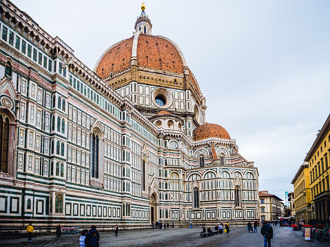 Italy Florence Cathedral in rainy day