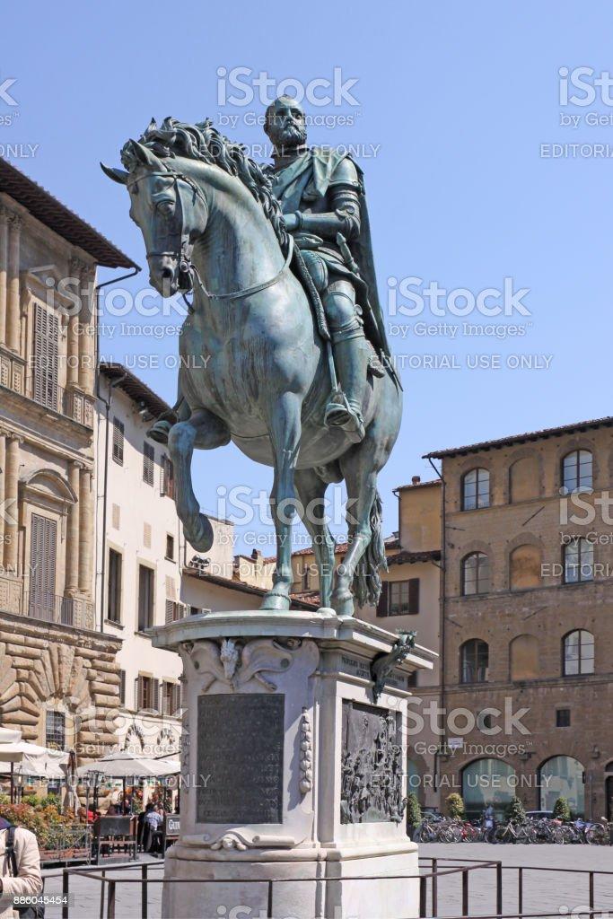 Italy. Florence. Equestrian statue of Cosimo I de 'Medici, Grand Duke of Tuscany stock photo