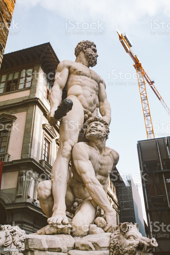 italy, florence, July 19, 2013:Famous Fountain of Neptune on Piazza della Signoria in Florence, Italy stock photo
