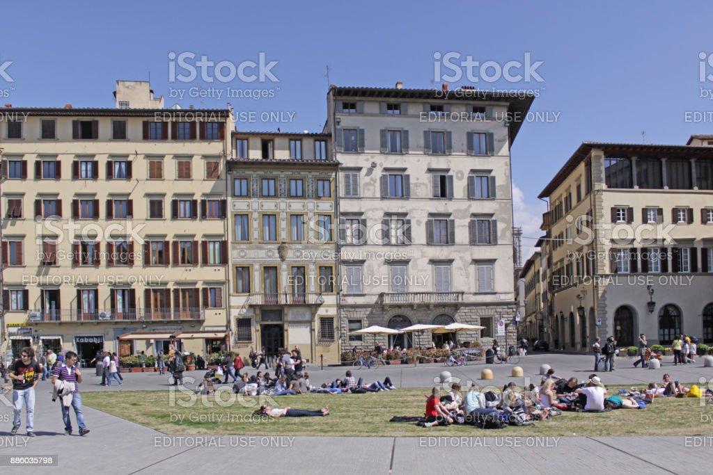 Italy. Florence. View of the dam and the bridge of Amerigo Vespucci - foto stock