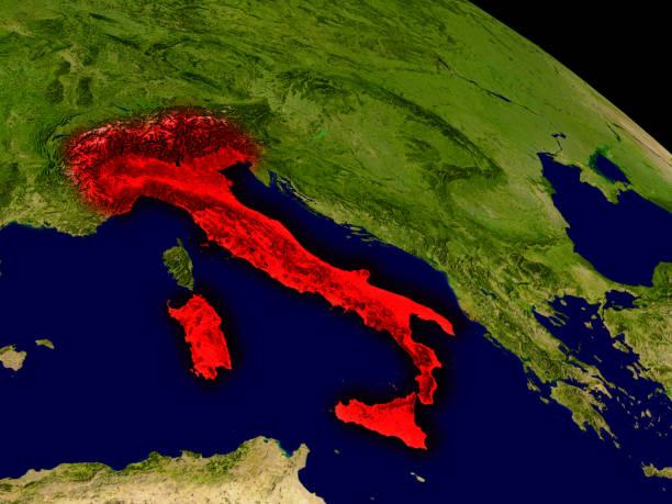 Italia desde el espacio - foto de stock