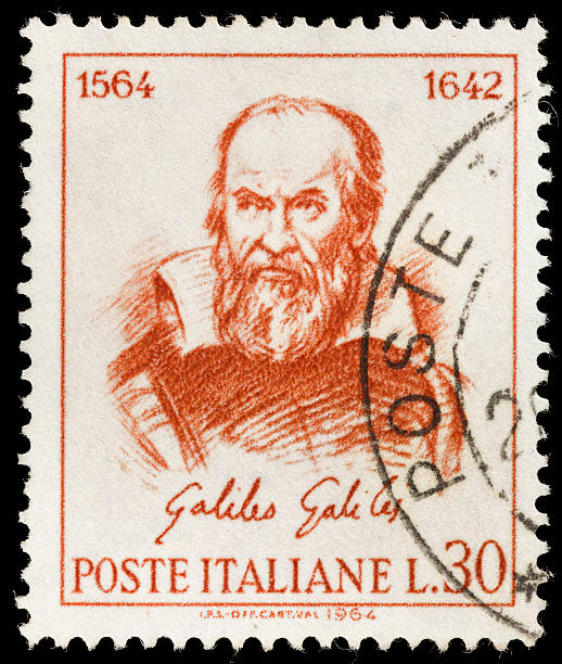 Italy Galileo Galilei postage stamp 1964 Italy postage stamp with an illustration of scientist Galileo Galilei. galileo galilei stock pictures, royalty-free photos & images