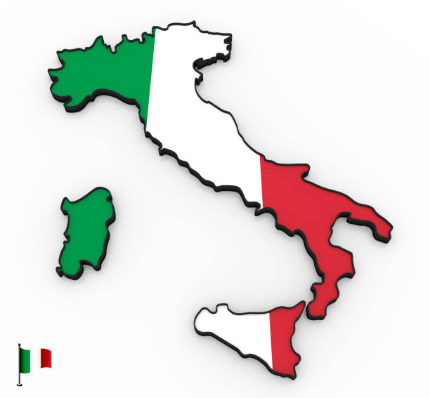 italy high detailed 3d map - italy map stock photos and pictures