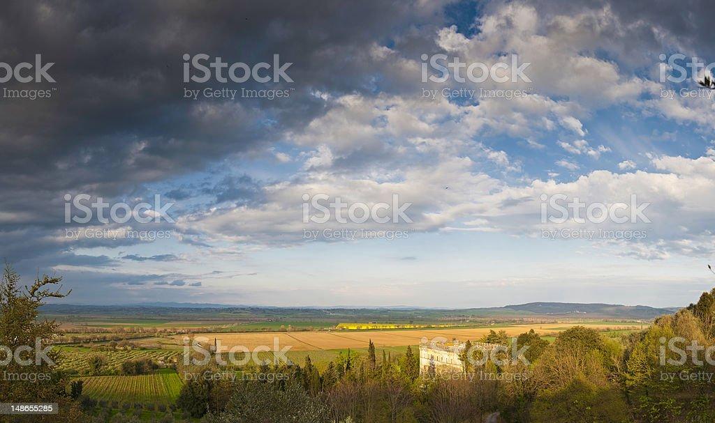 Italy idyllic country palazzo vineyards farm crop fields Siena Tuscany royalty-free stock photo