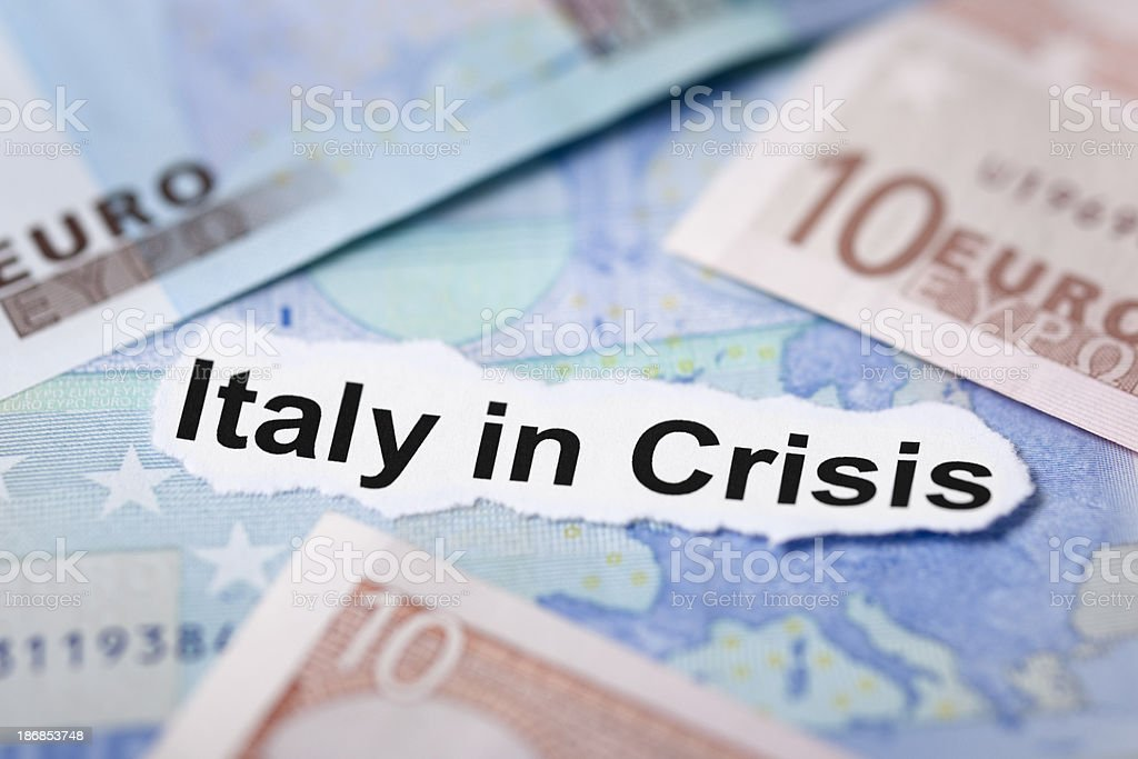 Italy in Crisis Economic Headline Topic royalty-free stock photo