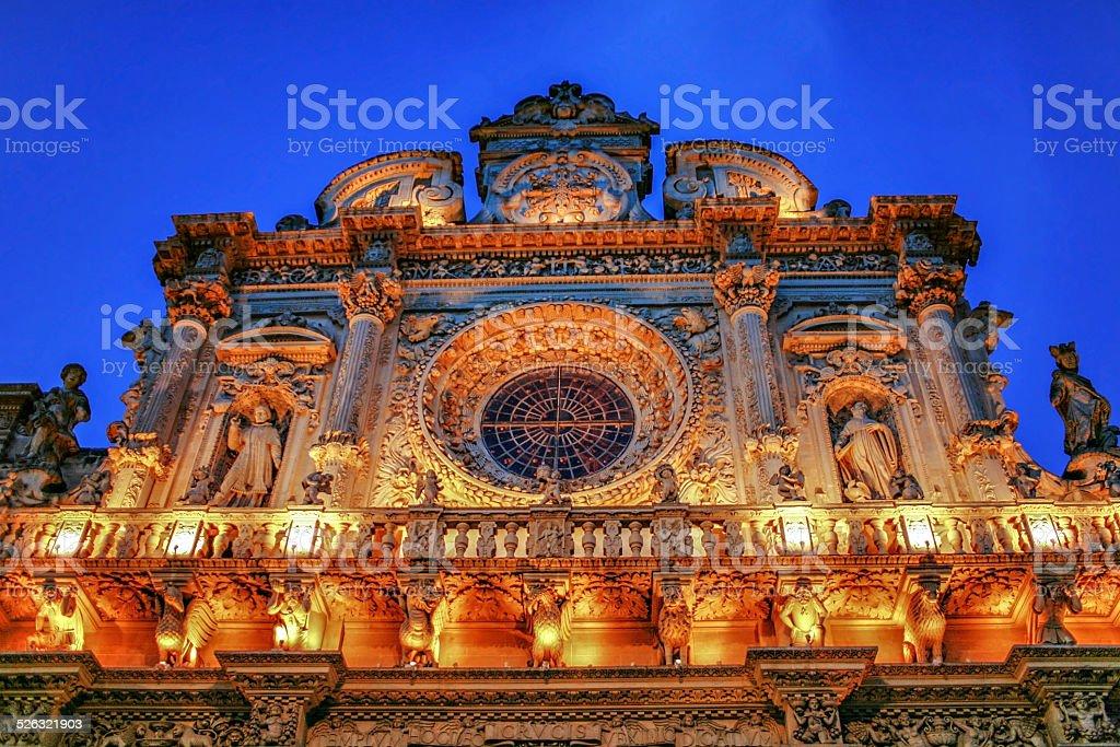 Italy Lecce Historic center 'Santa Croce Church' baroque archite stock photo