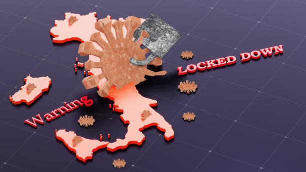 italien lockdown verhindern coronavirus-epidemie, deklarieren nationale abschaltung coronavirus, covid-19 ausbruch notfall, stop coronavirus in italien. 3d-render. - standbildaufnahme stock-fotos und bilder