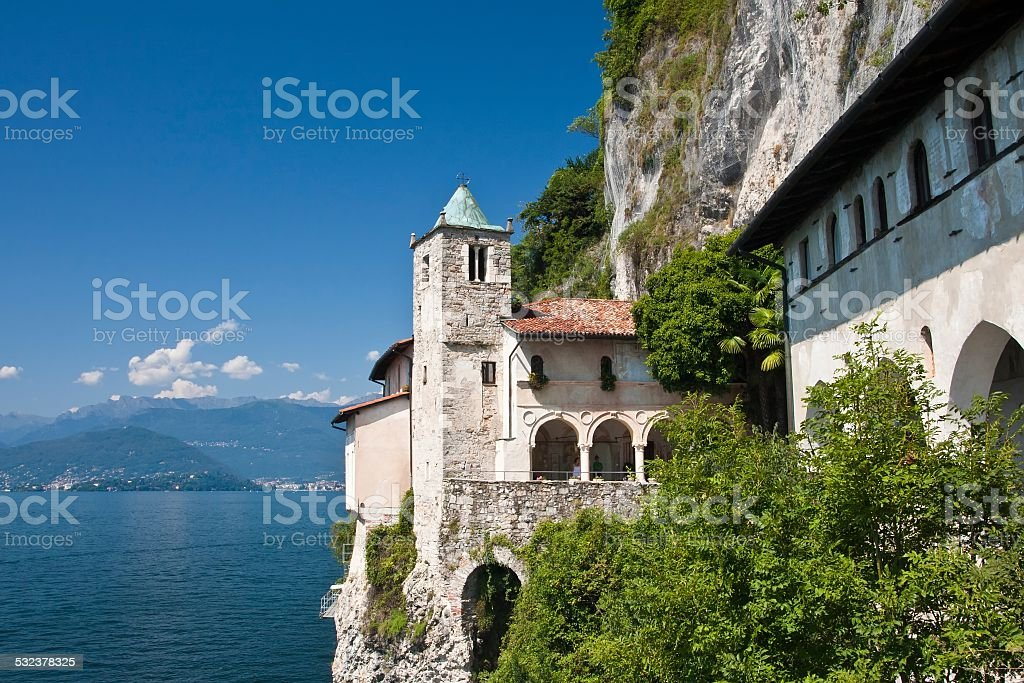 Italy - Maggiore Lake, Eremo Santa Caterina del Sasso stock photo