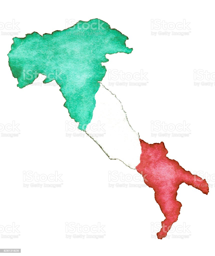 Italy Map Green Red White Watercolor Painting Cut Out stock photo