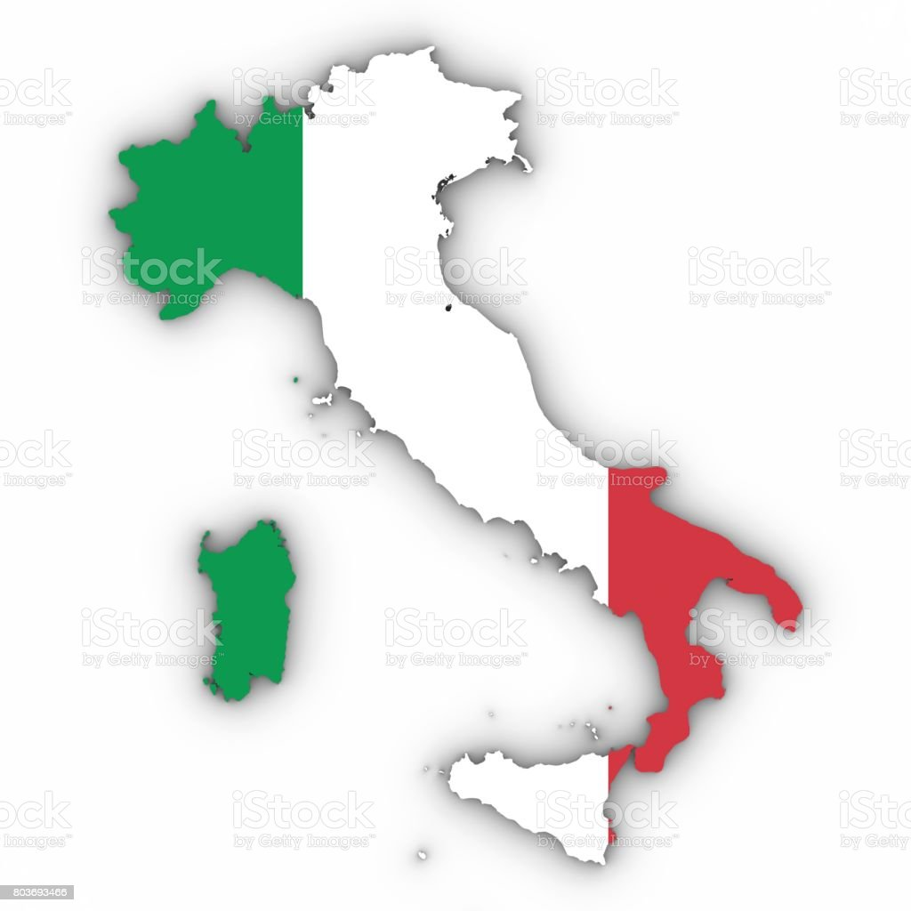Contorno del mapa de Italia con bandera italiana en blanco con Ilustración 3D de sombras - foto de stock