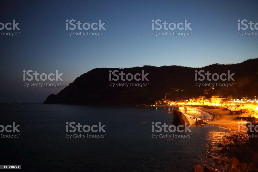 Italy, Monterosso shore at night stock photo