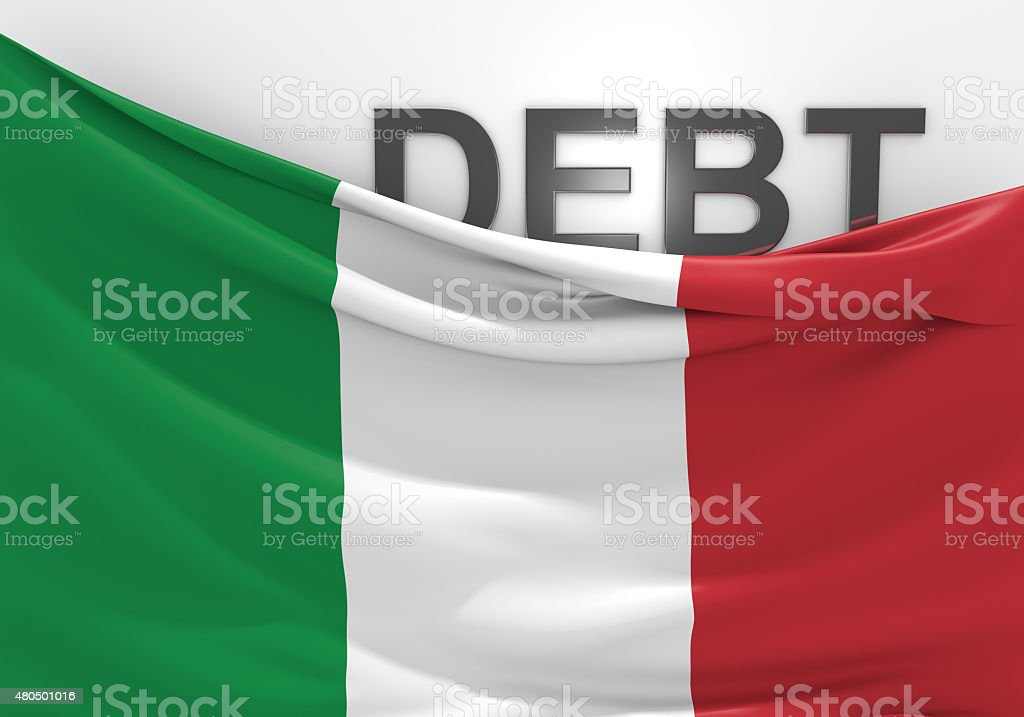 Italy national debt and budget deficit financial crisis stock photo