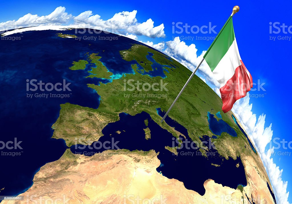 Italy national flag marking the country location on world map stock italy national flag marking the country location on world map royalty free stock photo gumiabroncs Images