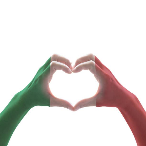italien medborgare sjunker mönstra på räcker hjärta formar på vit bakgrund - italy poster bildbanksfoton och bilder
