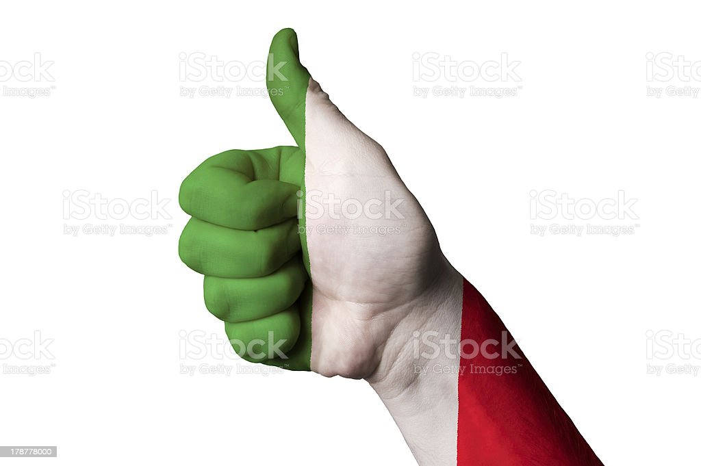 italy national flag thumb up gesture for excellence royalty-free stock photo