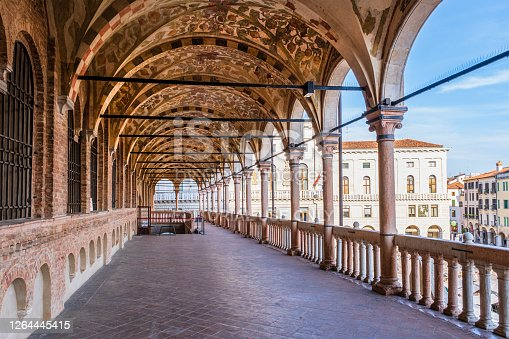 The Palazzo della Ragione, dating to the 13th century, is one of the historic landmarks of Padua. Its Great Hall has walls covered with allegorical frescoes and an open loggia overlooking Piazza delle Erbe.