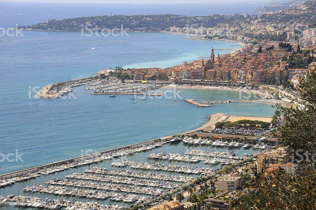 Italy. Panorama of Menton Bay stock photo
