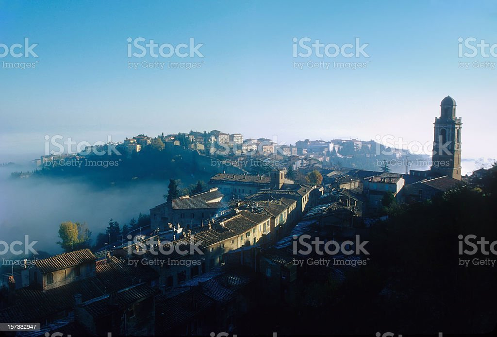 Italy. Perugia Rising From the Morning Mist royalty-free stock photo