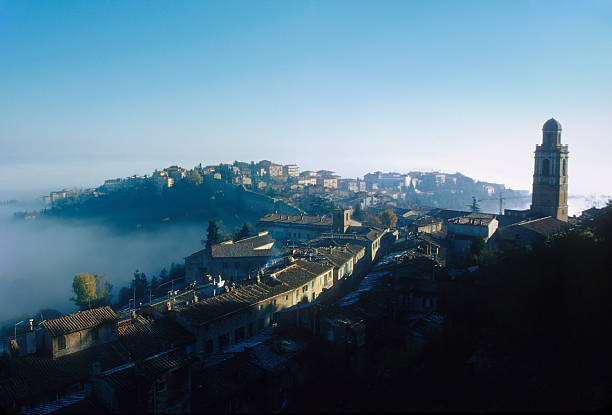 Italy. Perugia Rising From the Morning Mist stock photo
