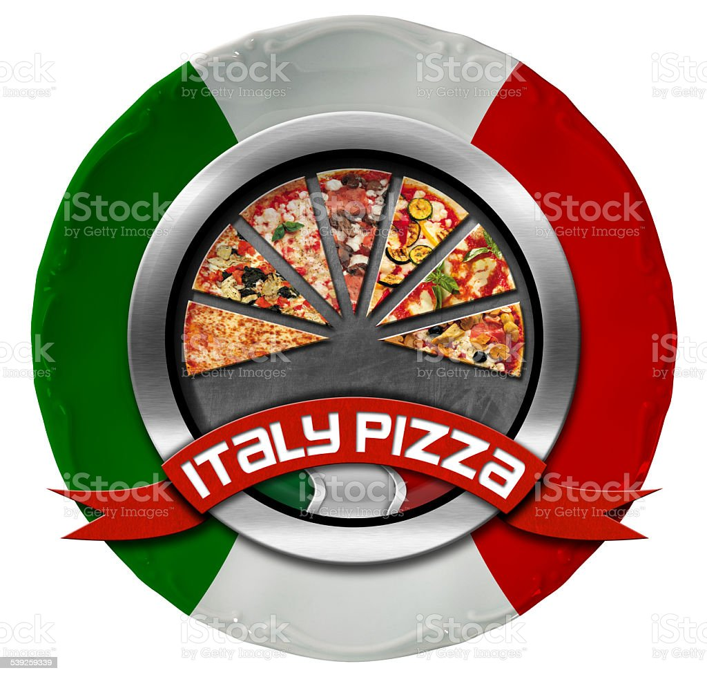 Italy Pizza - Metal Icon on Plate stock photo