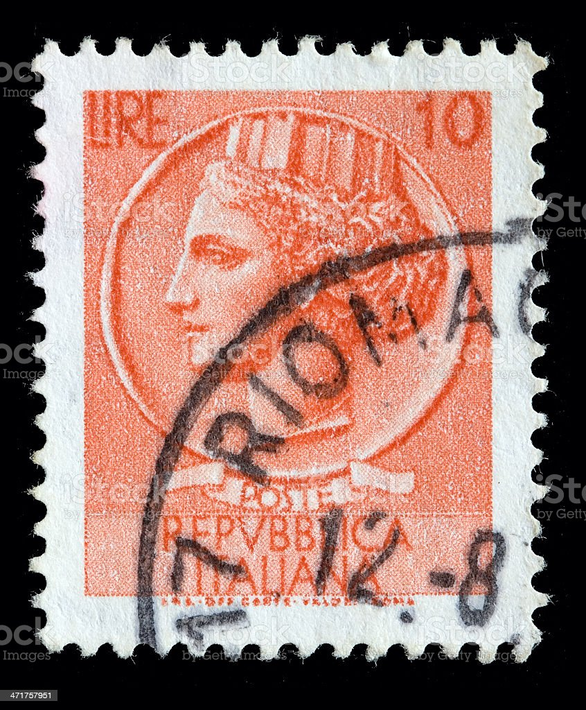 Italy postage stamp Turrita serie. 10 Lire royalty-free stock photo