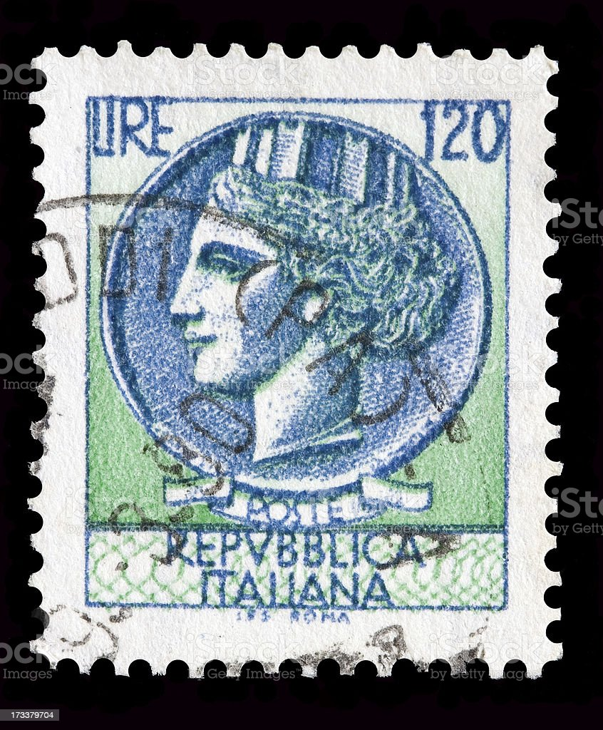 Italy postage stamp Turrita serie. 120 Lire royalty-free stock photo