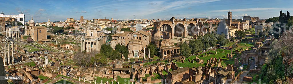 Italy. Rome. Forum Romanum view from the Palatine Hill. Panorama stock photo