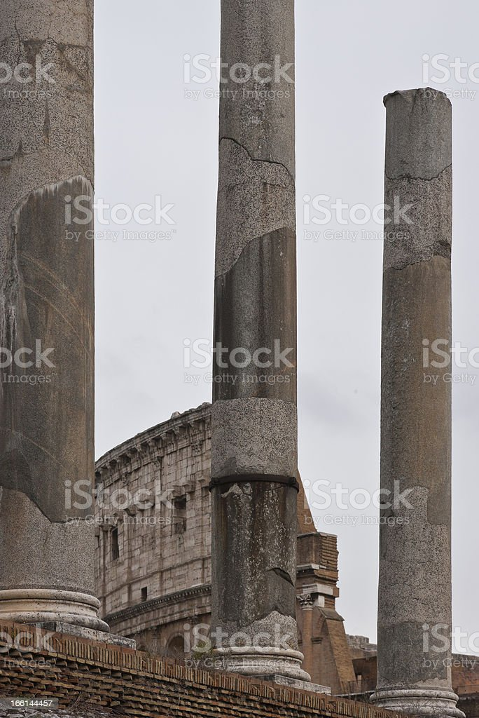 Italy. Rome. In the Roman Forum. In the background, Coliseum royalty-free stock photo