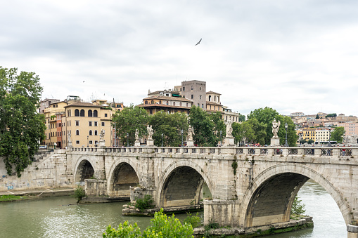 Italy, Rome,Ponte Sant'Angelo, once the Aelian Bridge or Pons Aelius on the tiber river