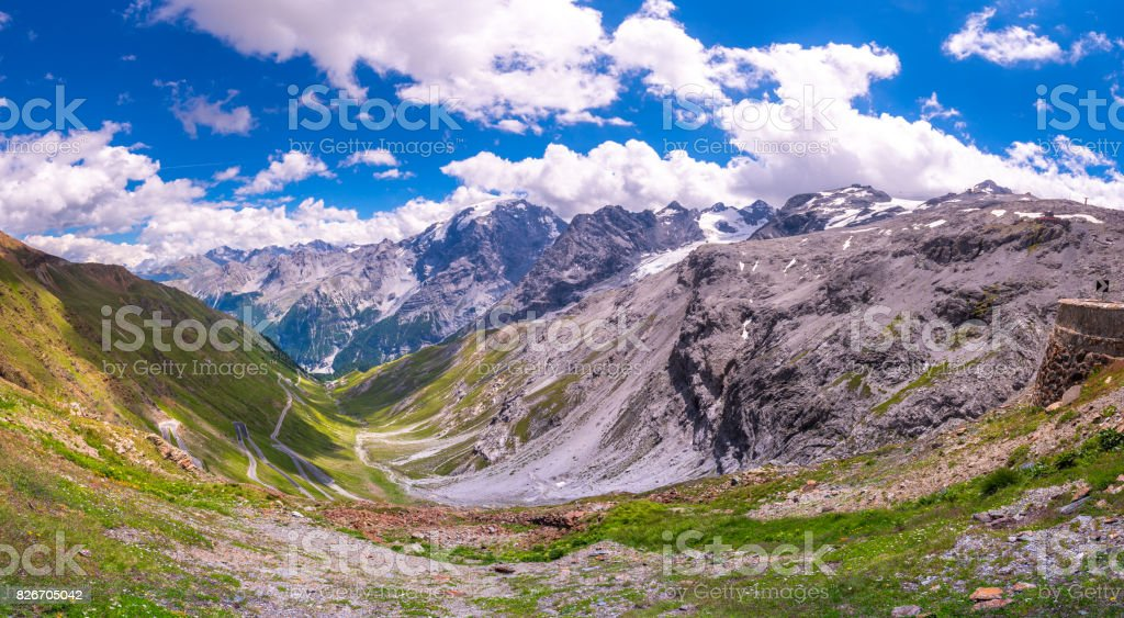 Italy, Stelvio National Park. Famous road to Stelvio Pass in Ortler Alps. Alpine landscape. stock photo
