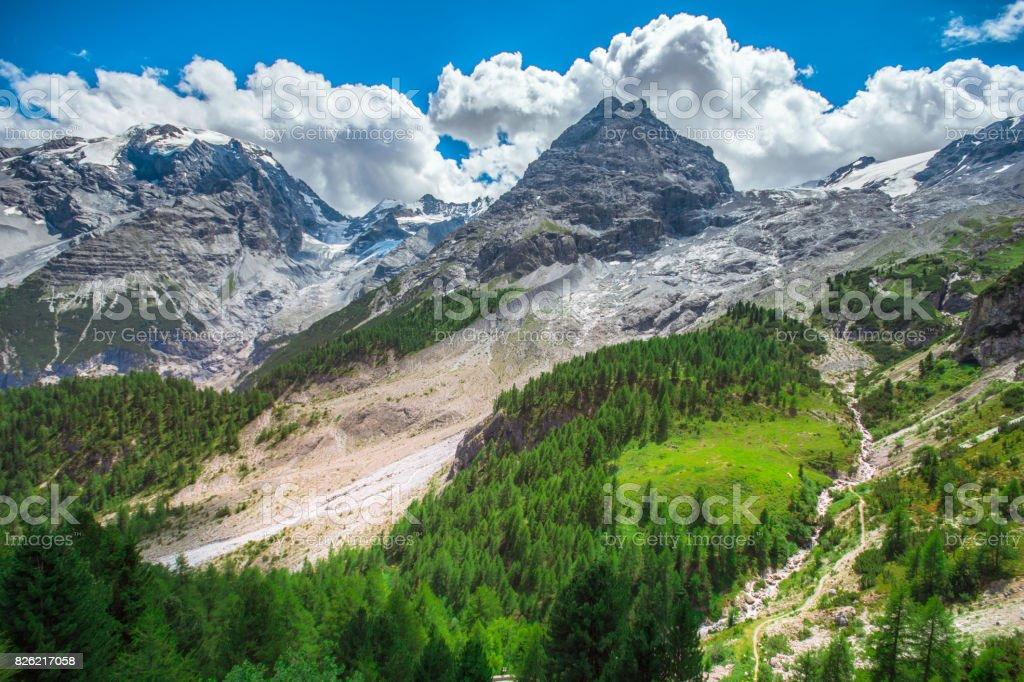 Italy, Stelvio National Park, in Ortler Alps. Alpine landscape. stock photo