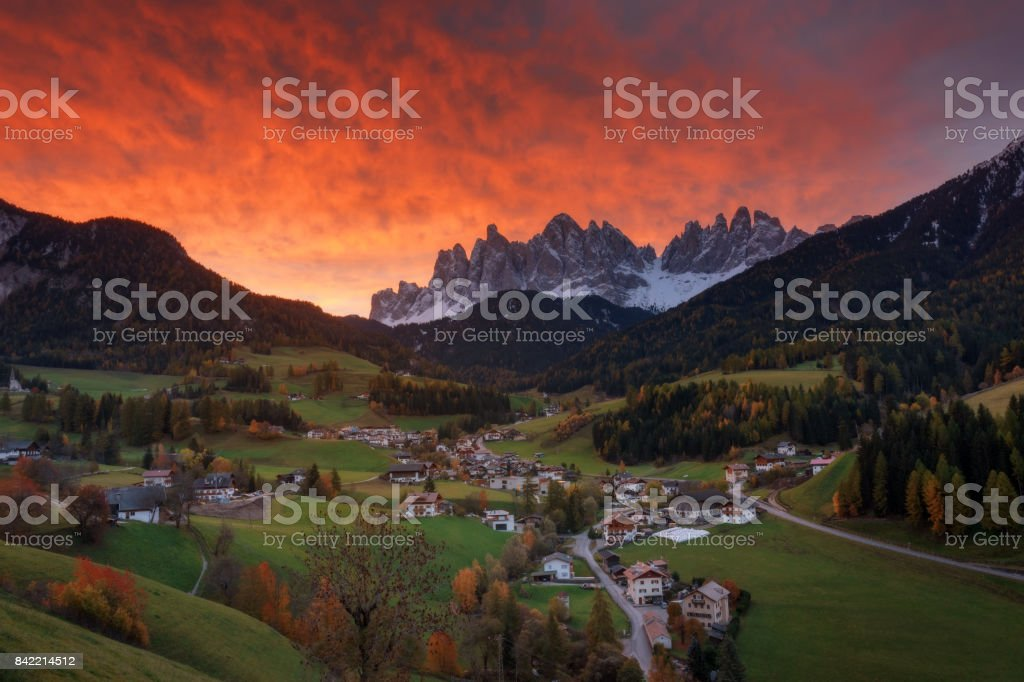 Italy. Sunrise in the village of  Santa Maddalena. stock photo
