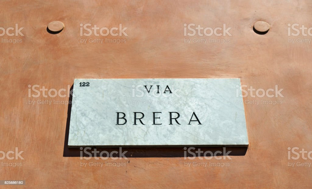 Italy: the marble sign of Via Brera, the main street of Brera district, the historical and medieval core of the city of Milan stock photo