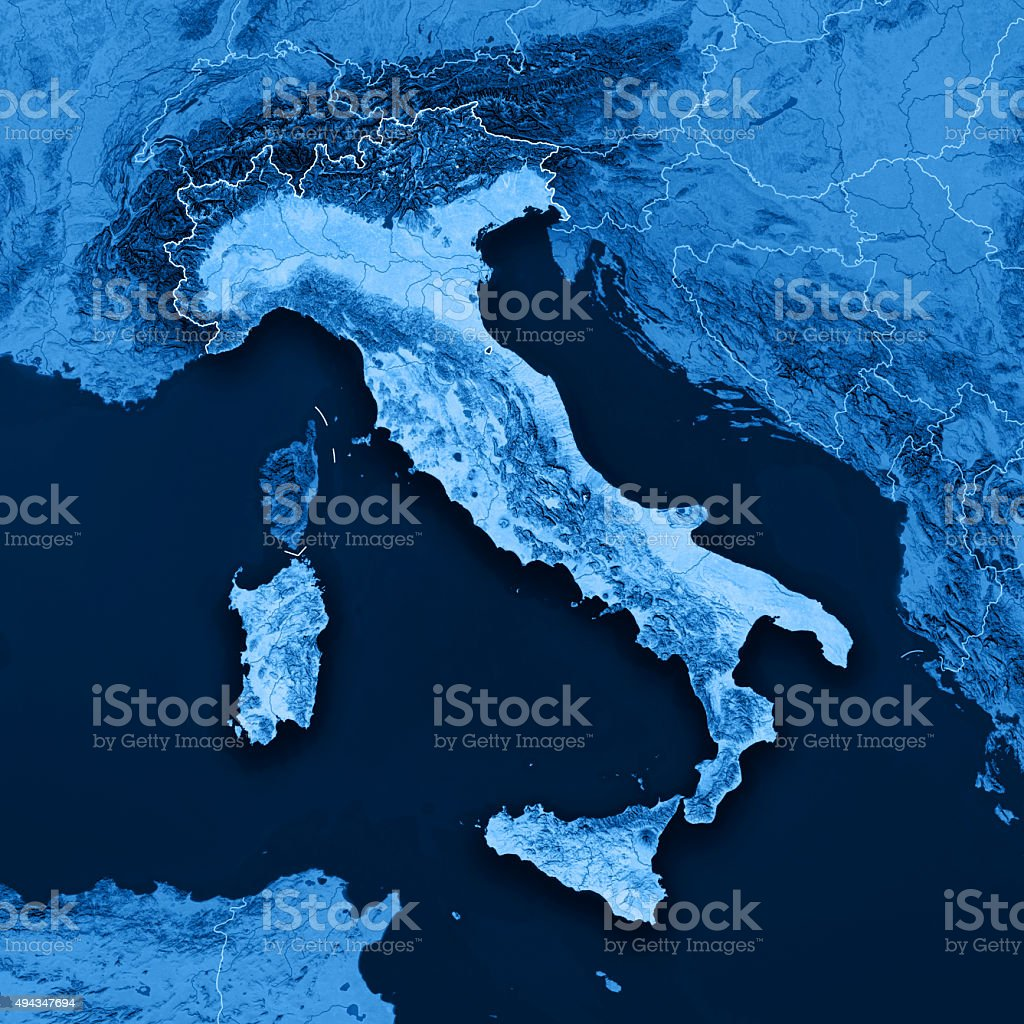 Italy Topographic Map Without Geographic Coordinates stock photo