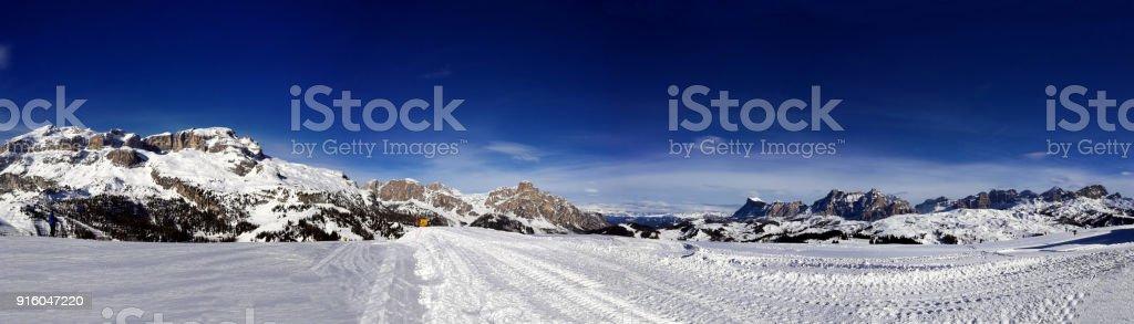 Italy, Trentino, Dolomites, panoramic view of the mountains stock photo