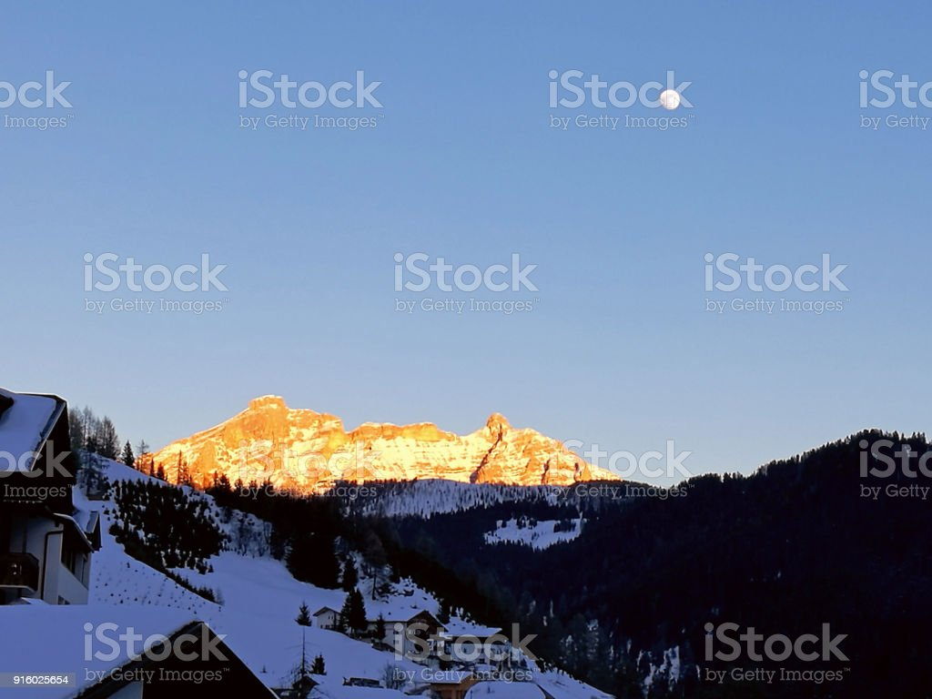 Italy, Trentino, Dolomites, view of the mountains at sunset stock photo