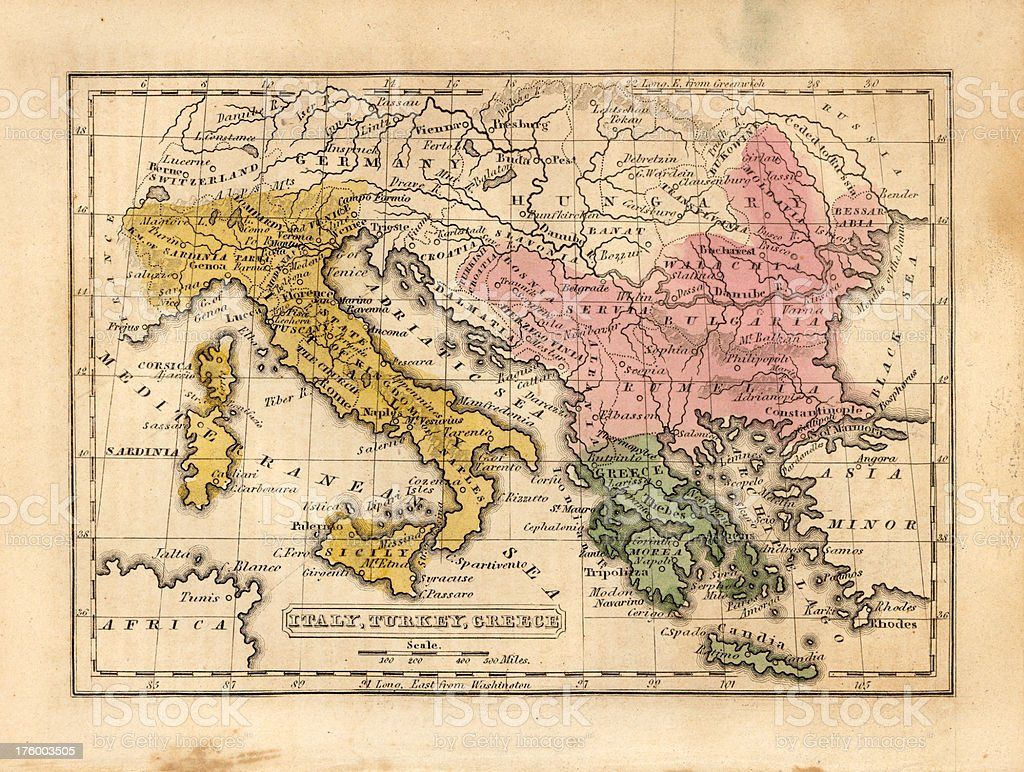 Map Of Italy Greece And Turkey.Italy Turkey Greece Vintage Map Stock Photo More Pictures Of