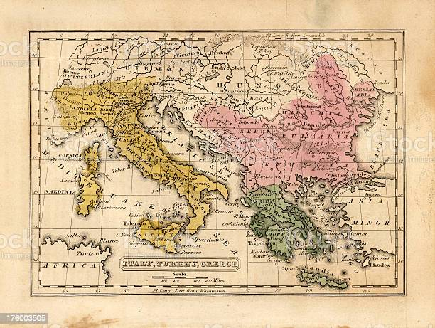 italy, turkey, greece vintage map