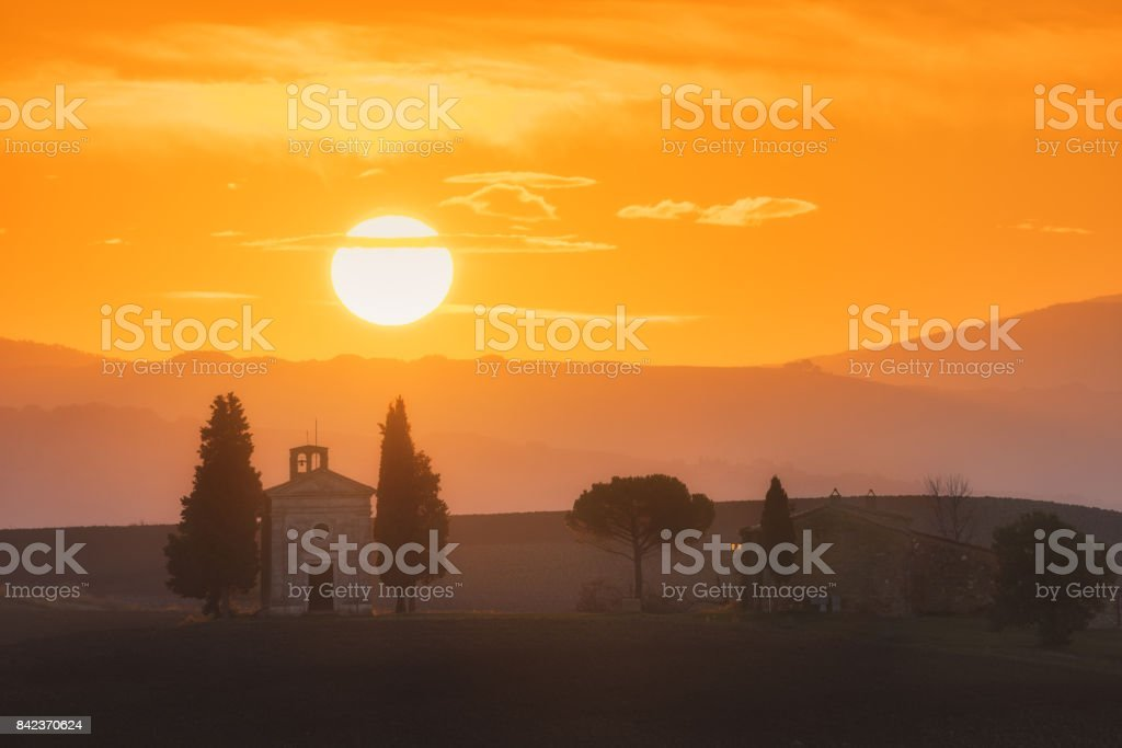Italy. Tuscany. Chapel Madonna di Vitaleta at sunrise stock photo
