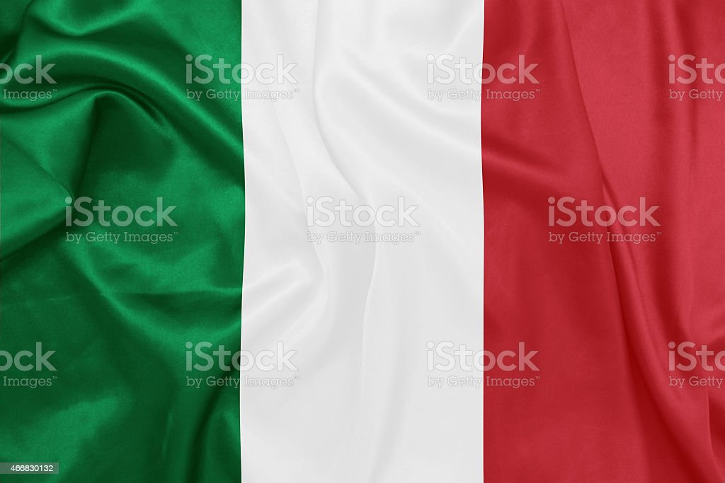 Italy - Waving national flag on silk texture stock photo