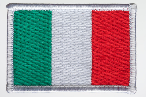 Italy's flag patch on white background.