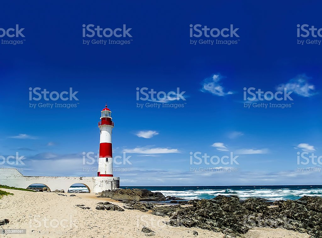 Itapuã Lighthouse in Sunny Day in Salvador, Brazil stock photo