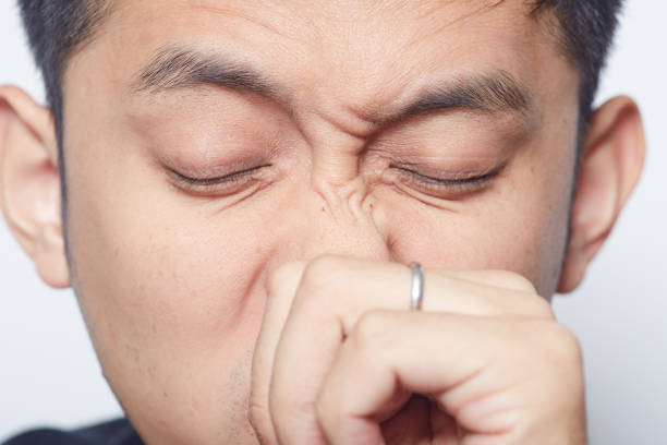 Itchy nose Young Japanese man rubbing his itchy nose human nose stock pictures, royalty-free photos & images