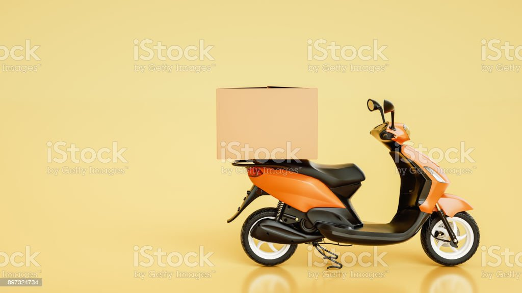 Item boxes are on motorcycles. stock photo