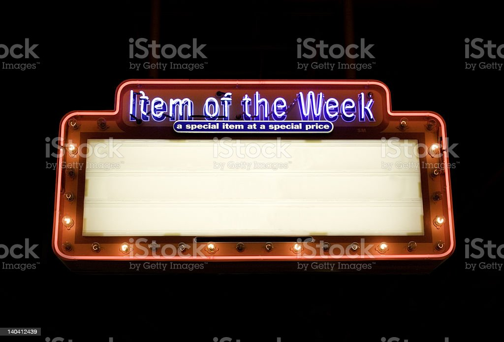 Item of the Week sign stock photo