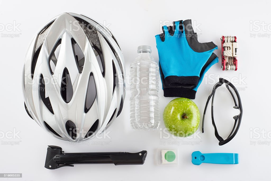 Items for a safe cycling and a healthy diet stock photo