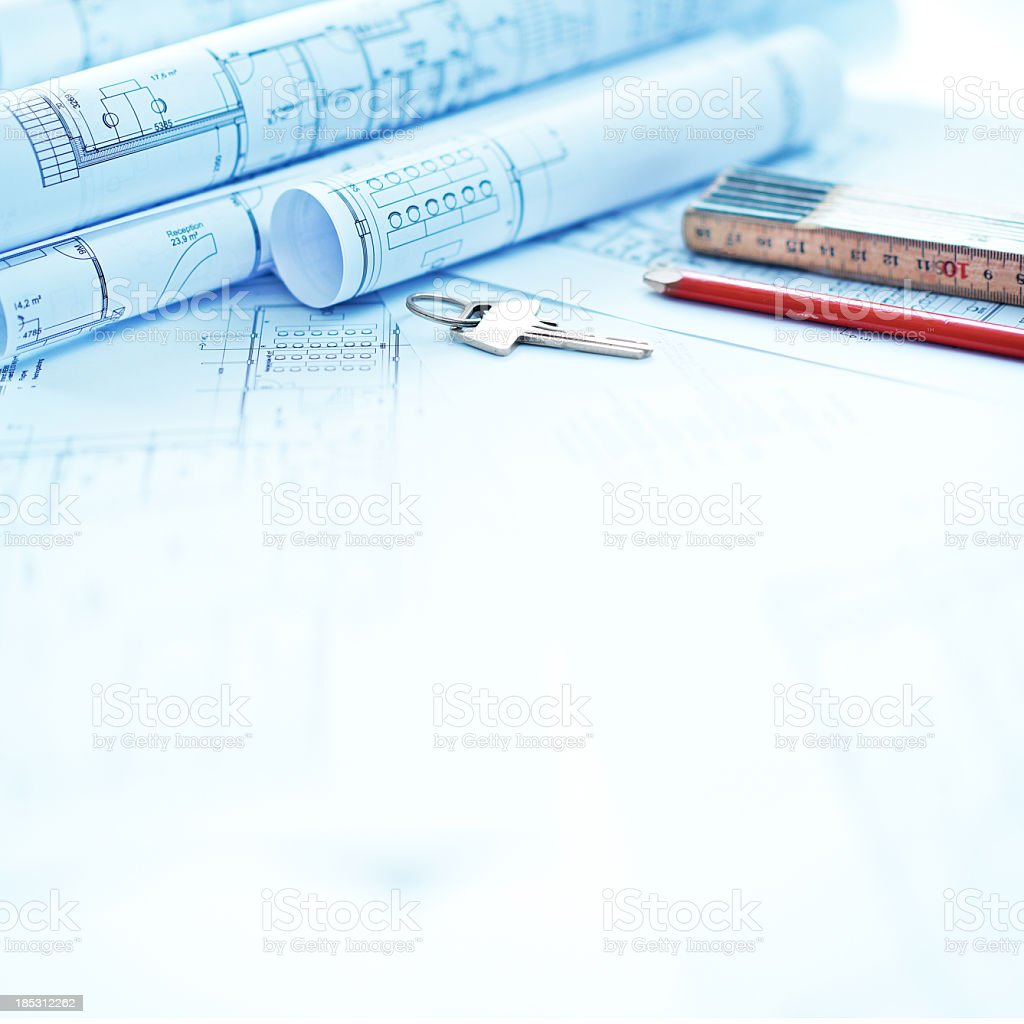 Items for building on blueprints and copyspace royalty-free stock photo