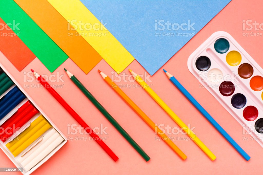 Items For Creativity Sheets Of Colored Cardboard Colored Pencils ...